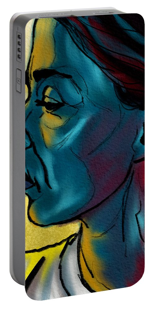 Portrait Portable Battery Charger featuring the digital art Profile In Blue by Michael Kallstrom