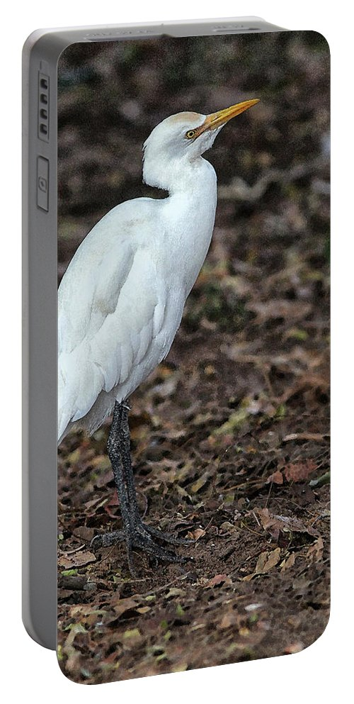 Egret Portable Battery Charger featuring the digital art Profile of an Egret by Sandeep Gangadharan