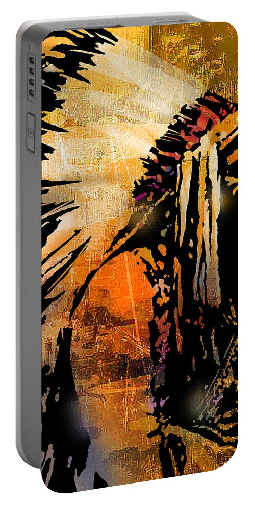 Native American Portable Battery Charger featuring the painting Profile of Pride by Paul Sachtleben