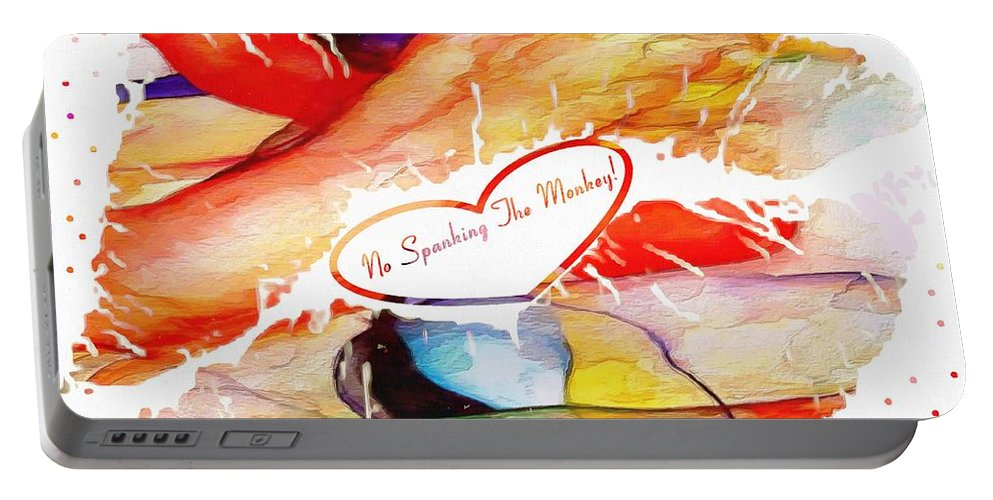 Profound Thought No Spanking The Monkey Portable Battery Charger featuring the digital art Profound Thought No Spanking The Monkey by Catherine Lott