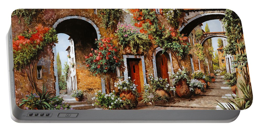 Landscape Portable Battery Charger featuring the painting Profumi Di Paese by Guido Borelli