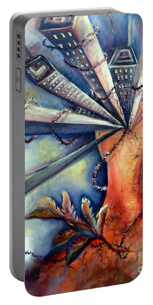 Semi Abstract Portable Battery Charger featuring the painting Progress Mess by Linda Shackelford