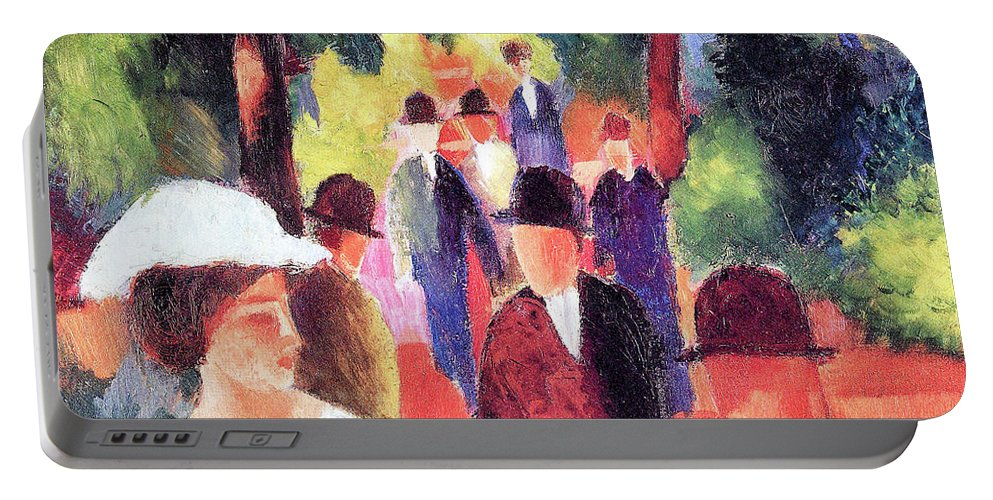 Promenade Portable Battery Charger featuring the painting Promenade II By August Macke by August Macke