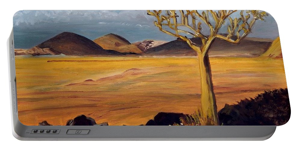 Desert Portable Battery Charger featuring the painting Promise Of Rain by Caroline Street