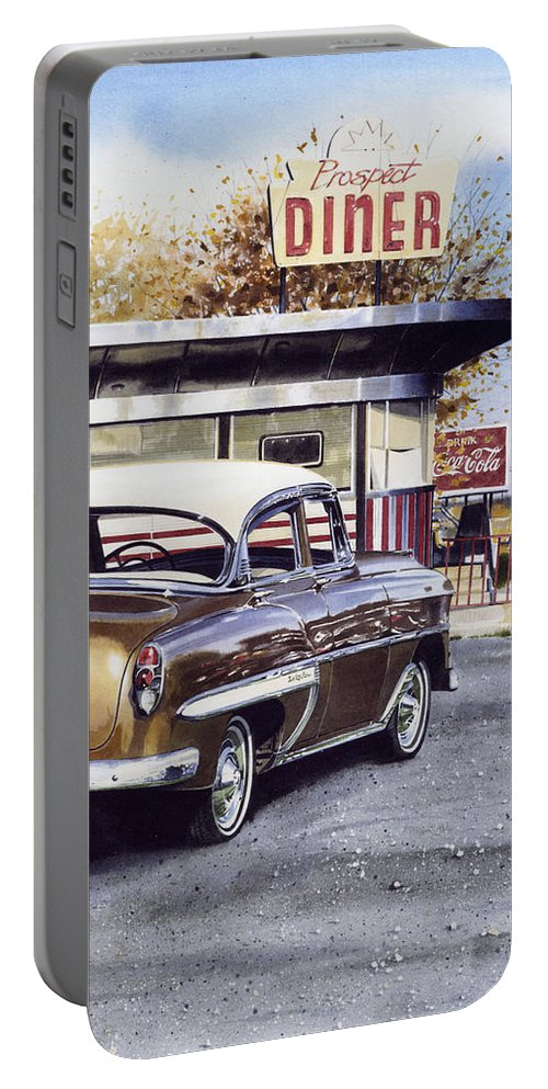 Diner Portable Battery Charger featuring the painting Prospect Diner by Denny Bond