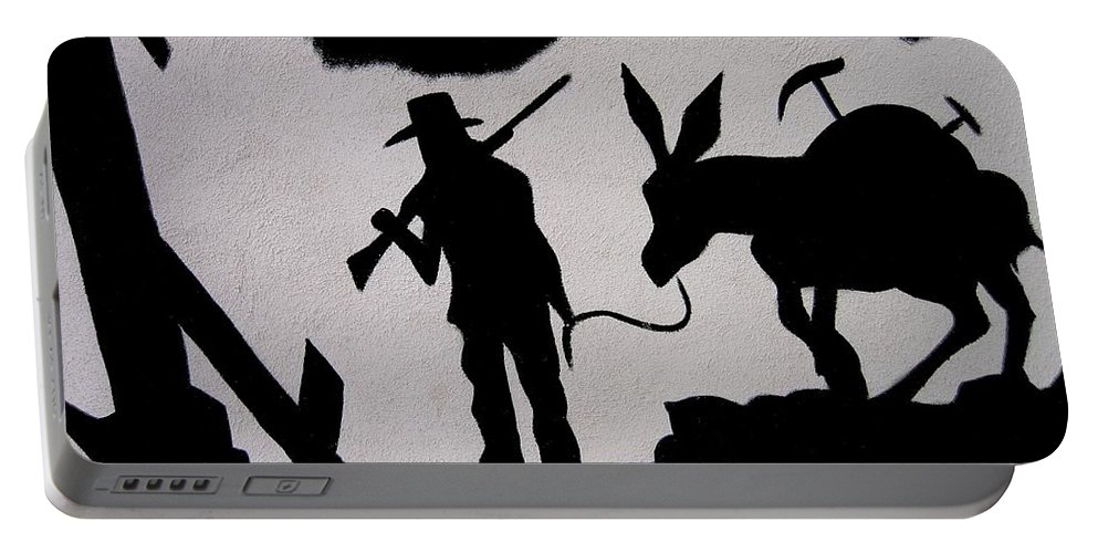 Prospector And Mule In Metal Tombstone Arizona 2004-2014 Portable Battery Charger featuring the photograph Prospector And Mule In Metal Tombstone Arizona 2004-2014 by David Lee Guss