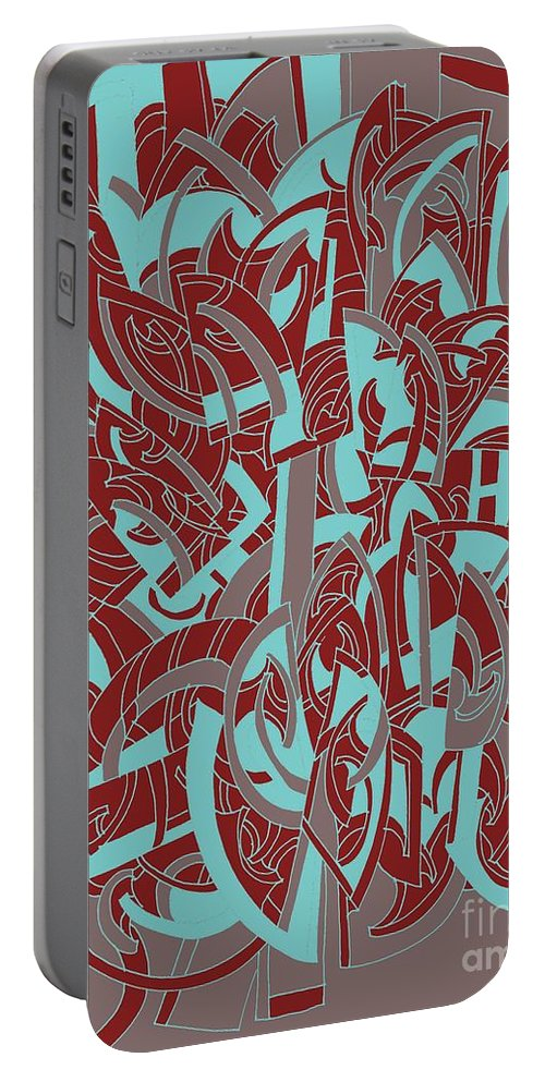 Abstract Geometric Painting Portable Battery Charger featuring the painting Protractor Memories by Nancy Kane Chapman
