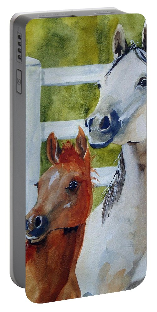 Equine Portable Battery Charger featuring the painting Proud Mama by Jean Blackmer