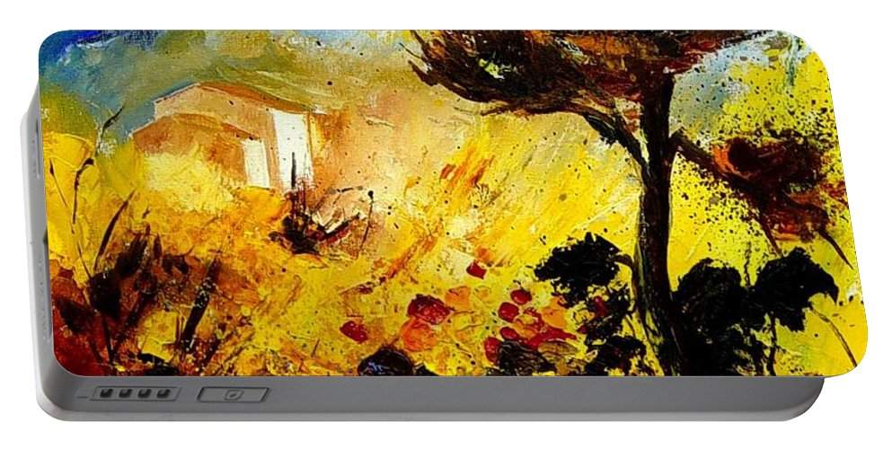 Flowers Portable Battery Charger featuring the painting Provence 56 by Pol Ledent