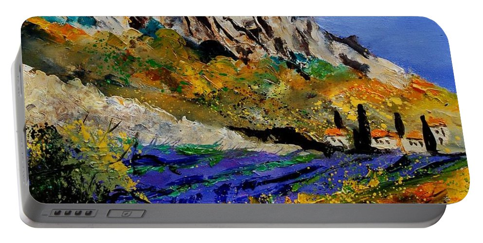 Flowers Portable Battery Charger featuring the painting Provence 560908 by Pol Ledent