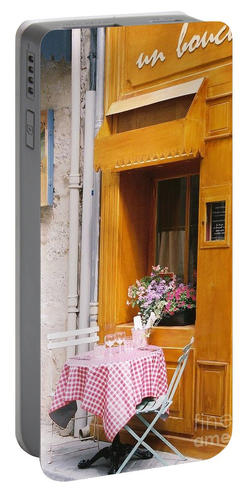 Cafe Portable Battery Charger featuring the photograph Provence Cafe by Nadine Rippelmeyer