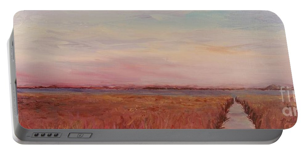 Landscape Portable Battery Charger featuring the painting Provence Camargue by Nadine Rippelmeyer