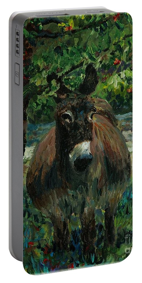 Donkey Portable Battery Charger featuring the painting Provence Donkey by Nadine Rippelmeyer