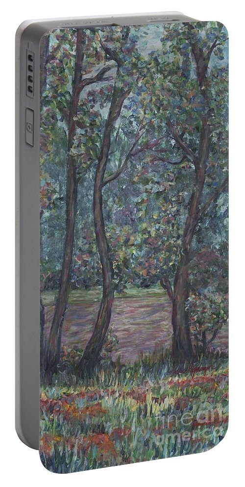 Landscape Portable Battery Charger featuring the painting Provence Flowers by Nadine Rippelmeyer