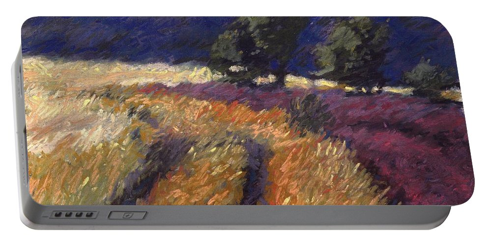 Provence France Field Landscape Portable Battery Charger featuring the pastel Provence by Pat Snook
