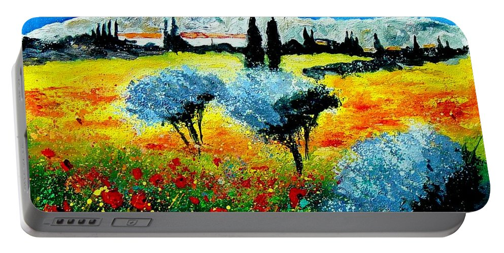 Poppies Portable Battery Charger featuring the painting Provence by Pol Ledent