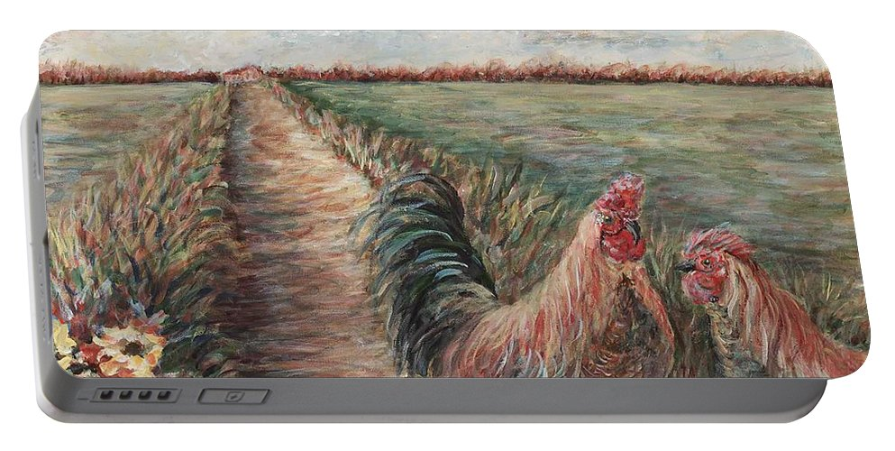 Provence Portable Battery Charger featuring the painting Provence Roosters by Nadine Rippelmeyer