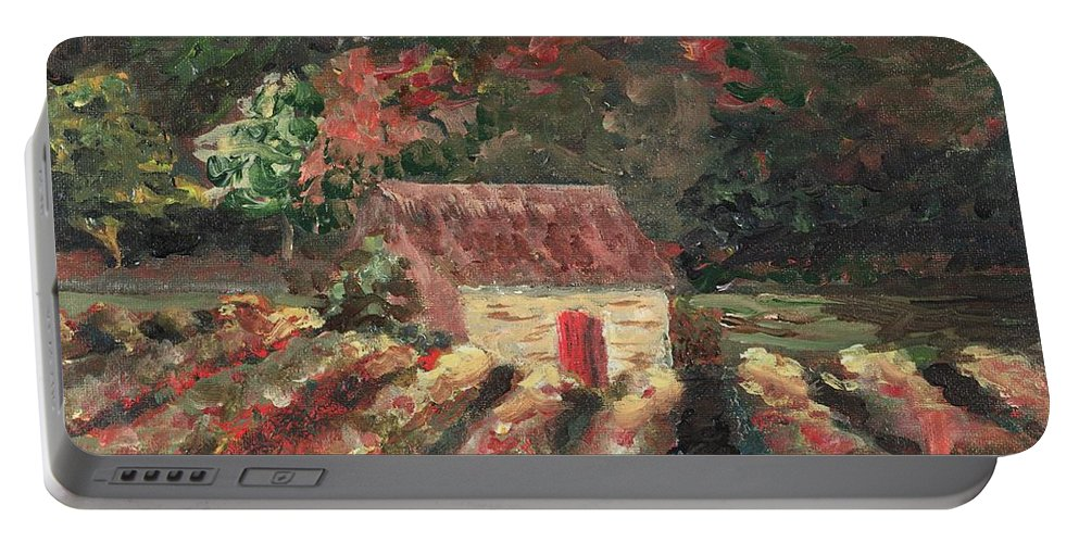 Landscape Portable Battery Charger featuring the painting Provence Vineyard by Nadine Rippelmeyer