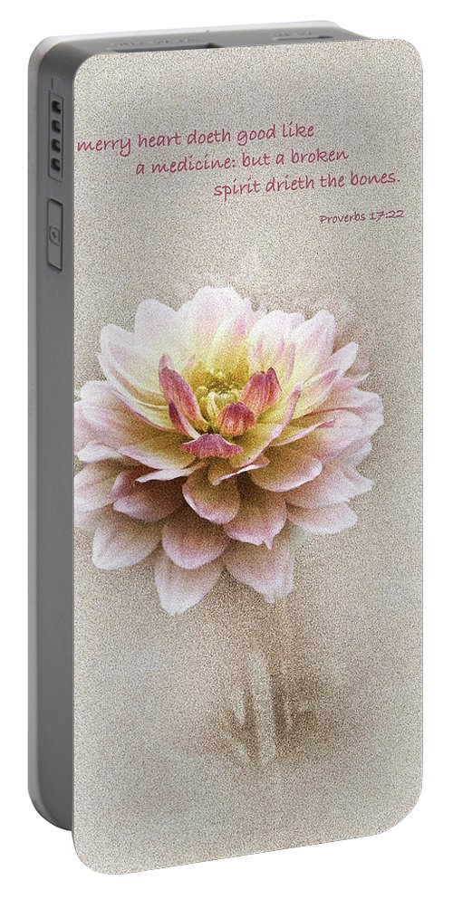 Floral Portable Battery Charger featuring the photograph Proverbs 17 V 22 Floral by Debbie Nobile