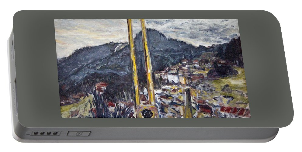 Landscape Portable Battery Charger featuring the painting pruhled zameren na Thuny by Pablo de Choros