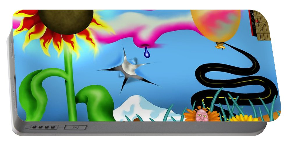 Surrealism Portable Battery Charger featuring the digital art Psychedelic Dreamscape I by Robert Morin