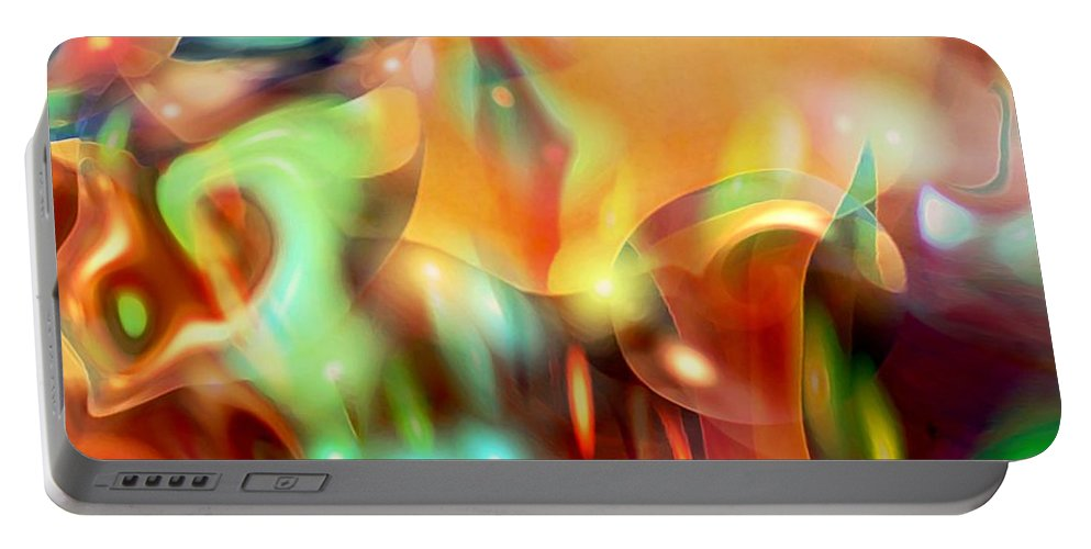 Abstract Art Portable Battery Charger featuring the digital art Psychedelic Xperiment by Linda Sannuti