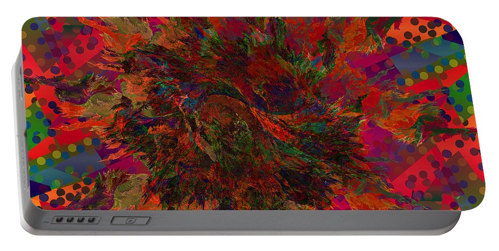 Abstract Portable Battery Charger featuring the digital art Psycho Circus by Diane Parnell