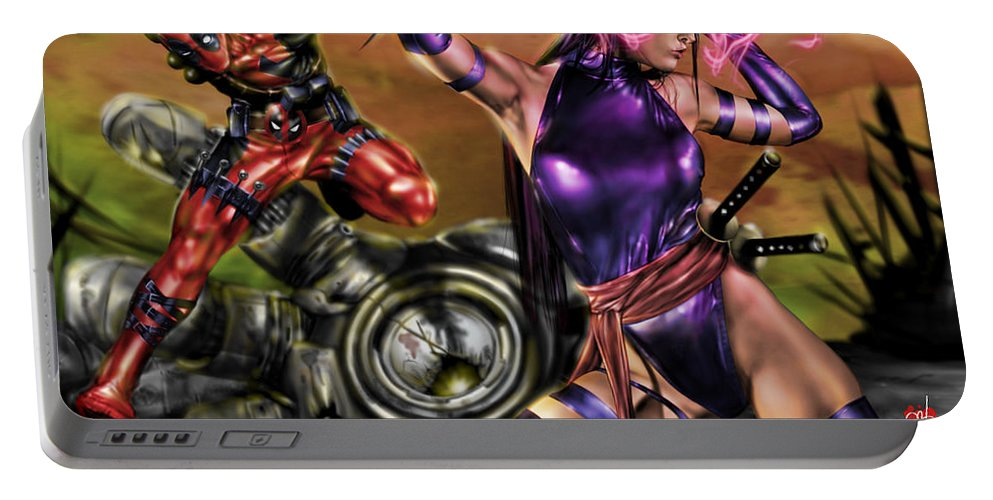 Marvel Portable Battery Charger featuring the painting Psylocke And Deadpool by Pete Tapang