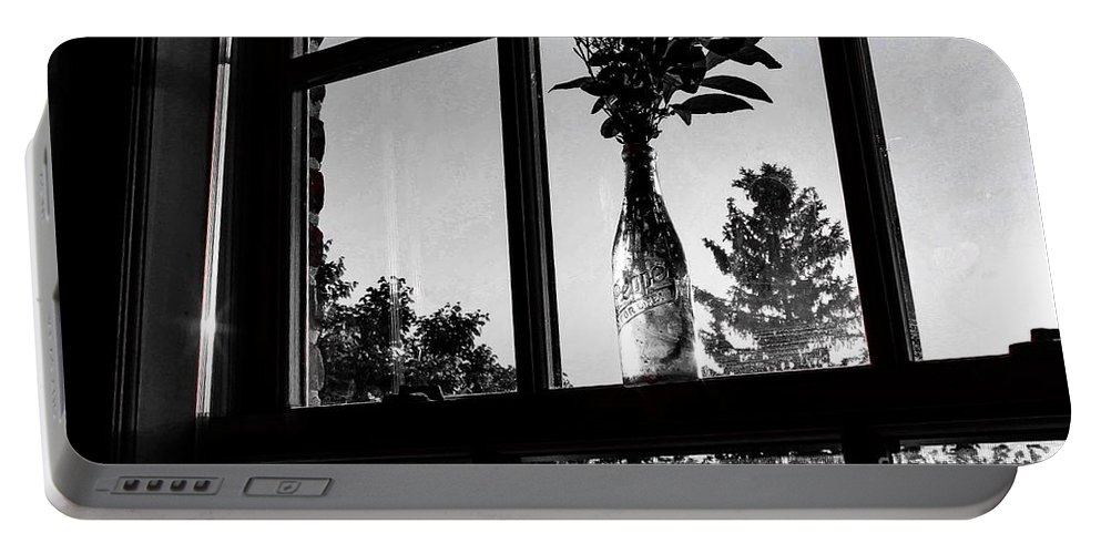 Window Portable Battery Charger featuring the photograph Pt 2 Flowers On A Windowsill by Taylor McLaurin