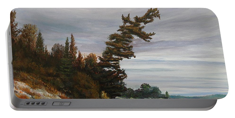 Landscape Portable Battery Charger featuring the painting Ptarmigan Bay by Ruth Kamenev