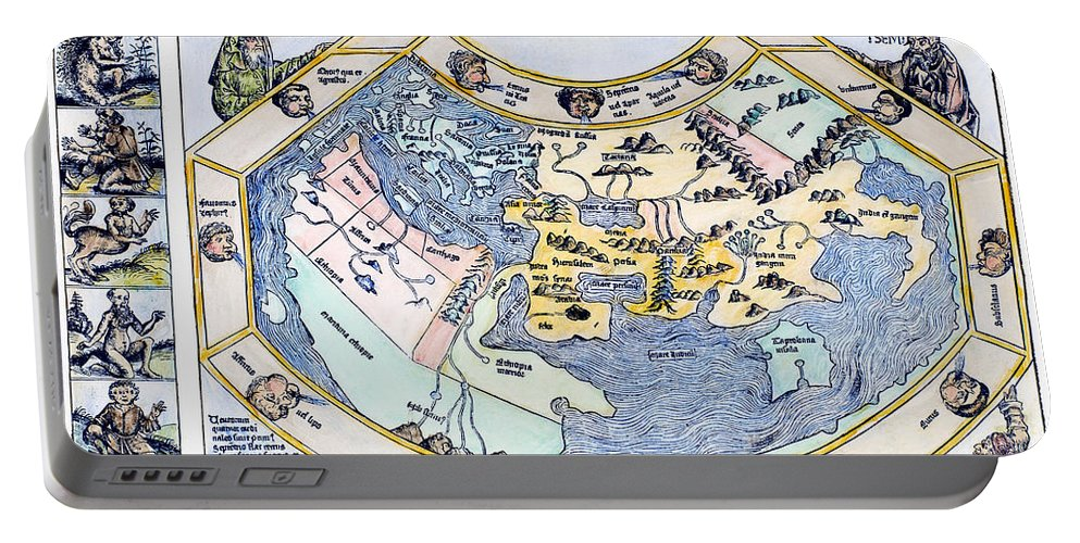 1493 Portable Battery Charger featuring the photograph Ptolemaic World Map, 1493 by Granger