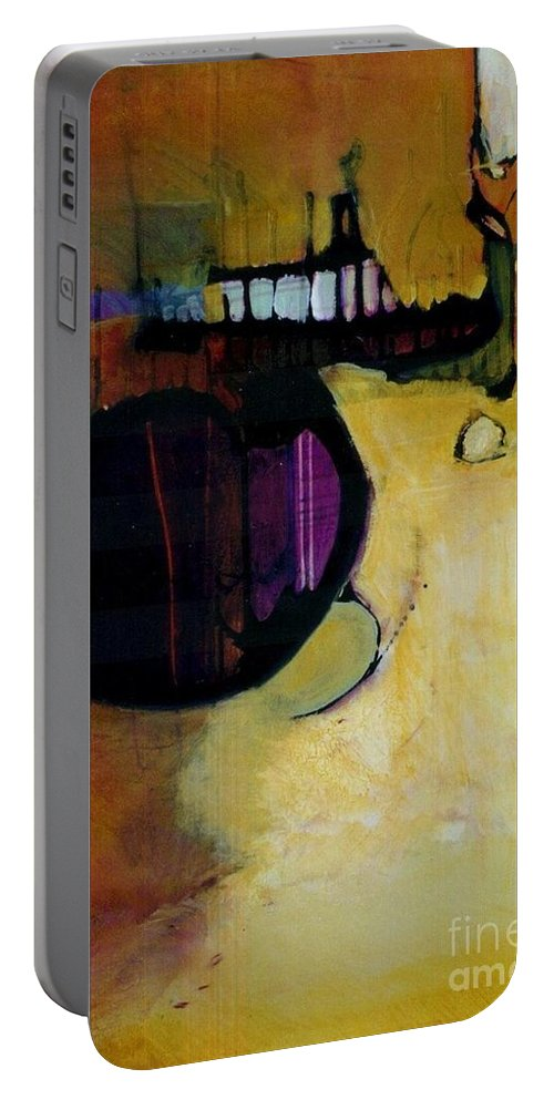 Abstract Portable Battery Charger featuring the painting Published by Marlene Burns