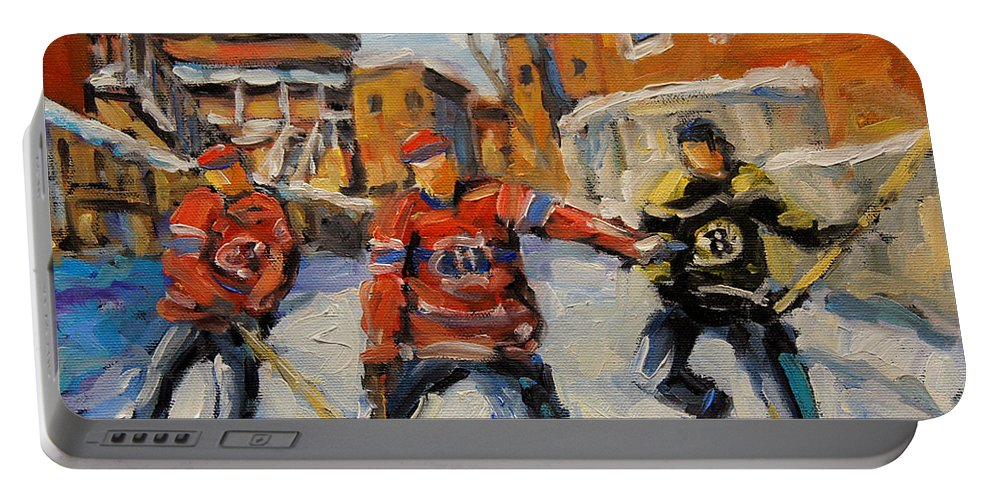 Kid-friendly Portable Battery Charger featuring the painting Puck Control Hockey Kids Created By Prankearts by Richard T Pranke