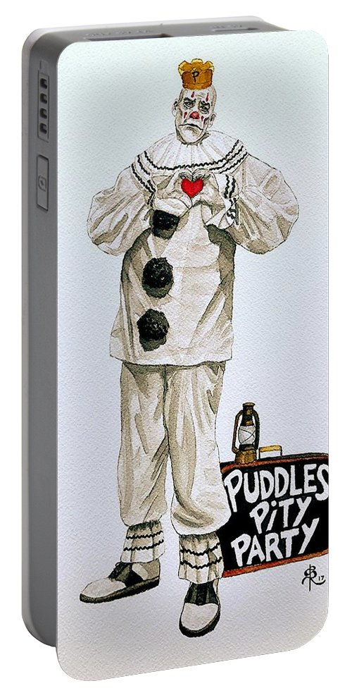 Puddles Portable Battery Charger featuring the painting Puddles Loves by SarahjewelAZ SarahjewelAZ