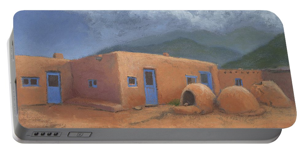 Taos Portable Battery Charger featuring the painting Puertas Azul by Jerry McElroy