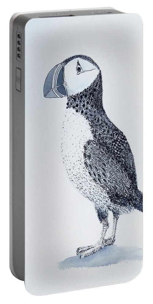 Bird Portable Battery Charger featuring the painting Puffin by Yvonne Ankerman