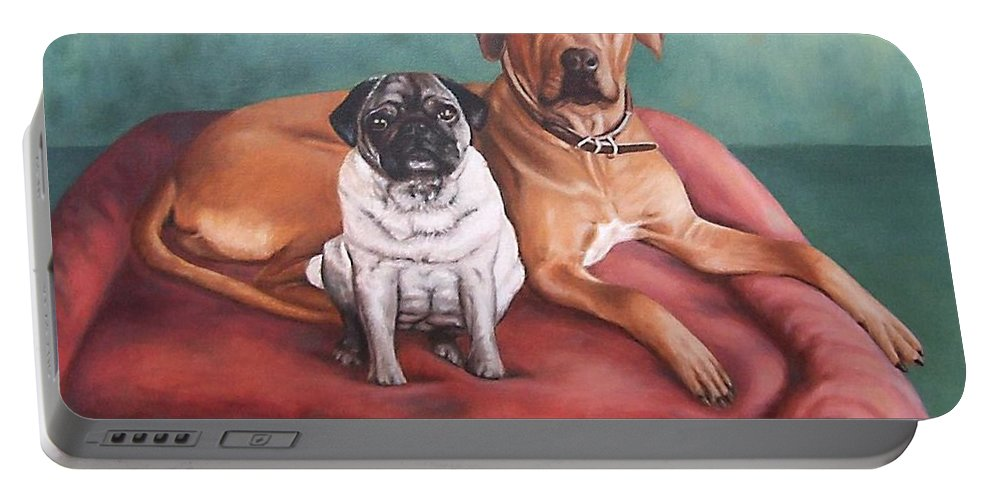 Dogs Portable Battery Charger featuring the painting Pug And Rhodesian Ridgeback by Nicole Zeug