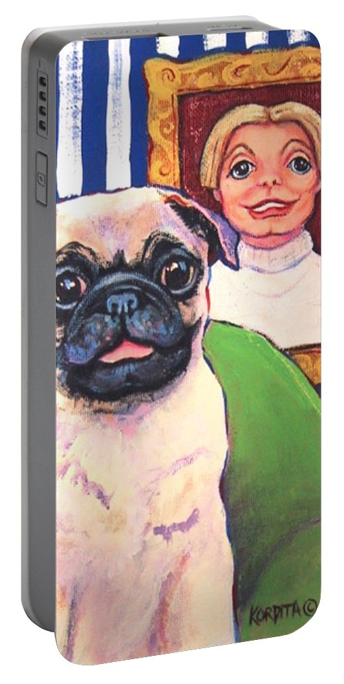 Pug Portable Battery Charger featuring the painting Pug - Beth Ann And Butch by Rebecca Korpita
