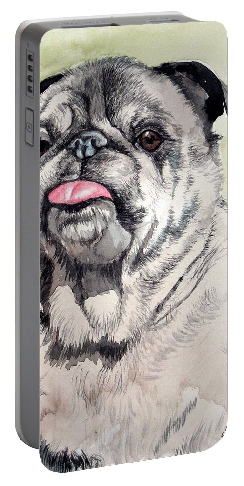 Dog Portable Battery Charger featuring the painting Pug by Christopher Shellhammer