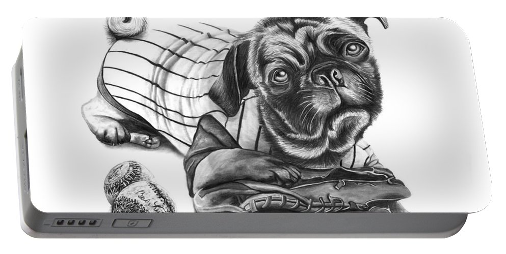 Pug Ruth Portable Battery Charger featuring the drawing Pug Ruth by Peter Piatt