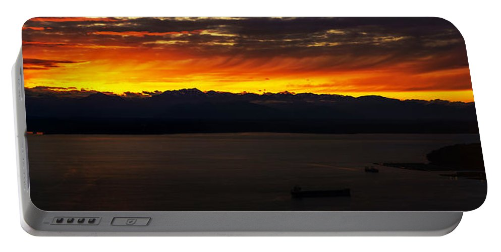 Puget Sound Portable Battery Charger featuring the photograph Puget Sound Olympic Mountains Sunset by Mike Reid