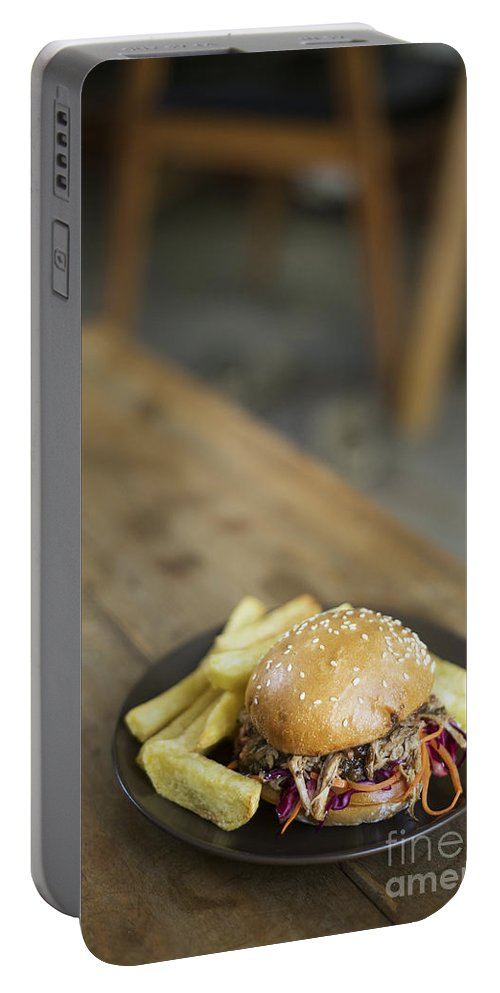 Bun Portable Battery Charger featuring the photograph Pulled Pork Bun With Fries by Jacek Malipan