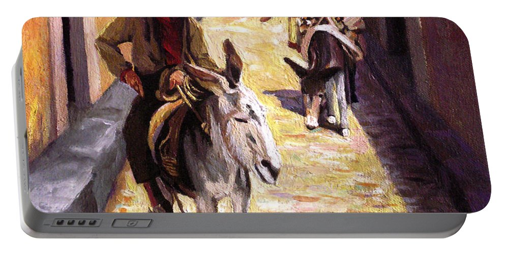Impressionism Portable Battery Charger featuring the painting Pulling Up The Rear In Mexico by Nancy Griswold