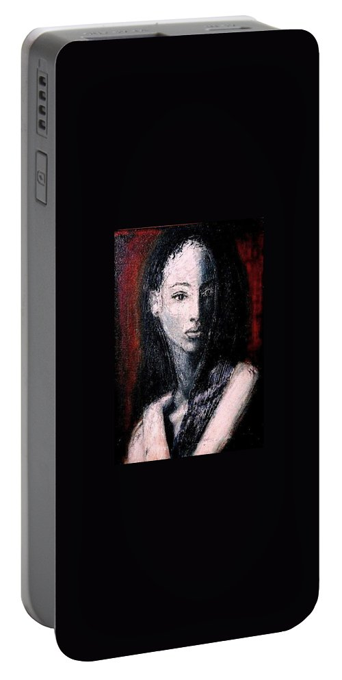 Portrait Art Portable Battery Charger featuring the painting Pulsar by Jarmo Korhonen aka Jarko