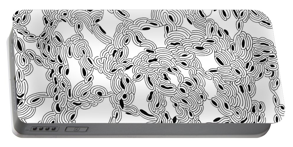 Mazes Portable Battery Charger featuring the drawing Pulse by Steven Natanson