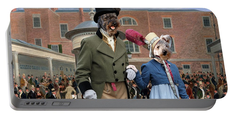 Pumi Portable Battery Charger featuring the painting Pumi Art Canvas Print - Settling Day At Tattersalls by Sandra Sij