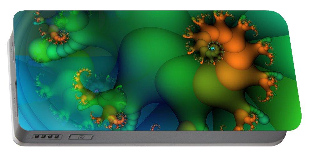 Fractal Portable Battery Charger featuring the digital art Pumpkin Garden by Jutta Maria Pusl