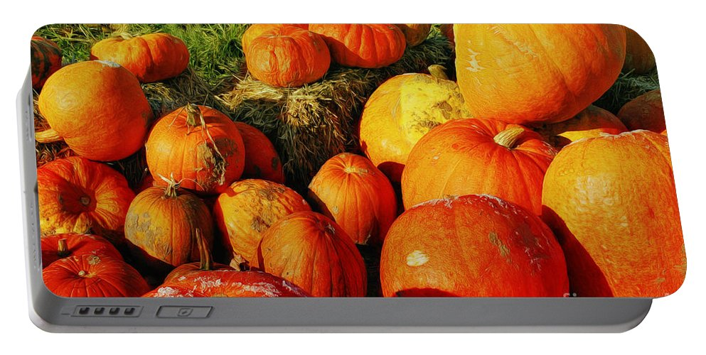 Photo Portable Battery Charger featuring the photograph Pumpkin Meeting by Jutta Maria Pusl