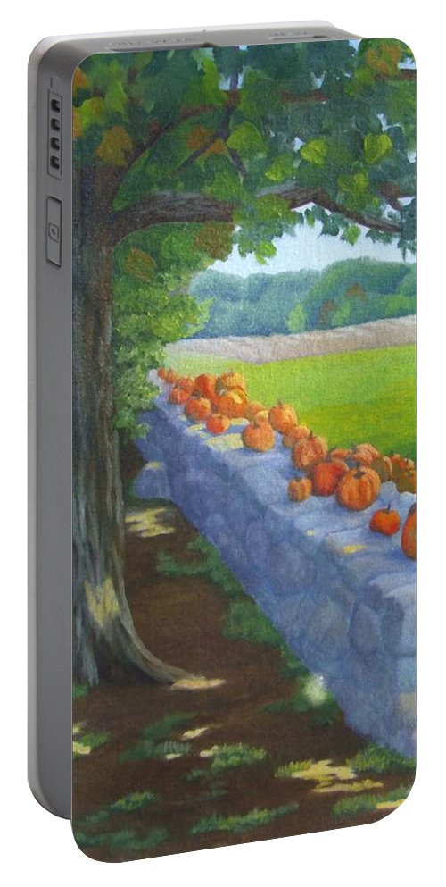 Pumpkins Portable Battery Charger featuring the painting Pumpkin Muster by Sharon E Allen