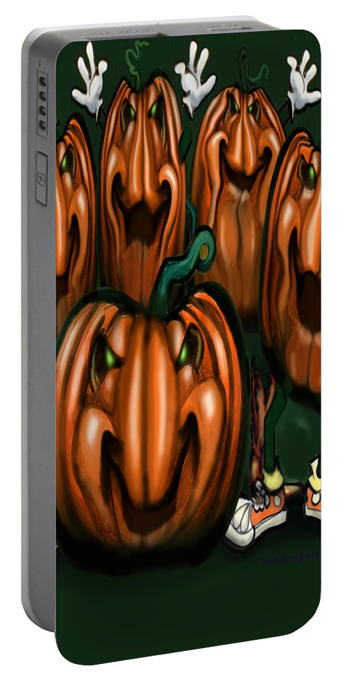 Halloween Portable Battery Charger featuring the painting Pumpkin Party by Kevin Middleton